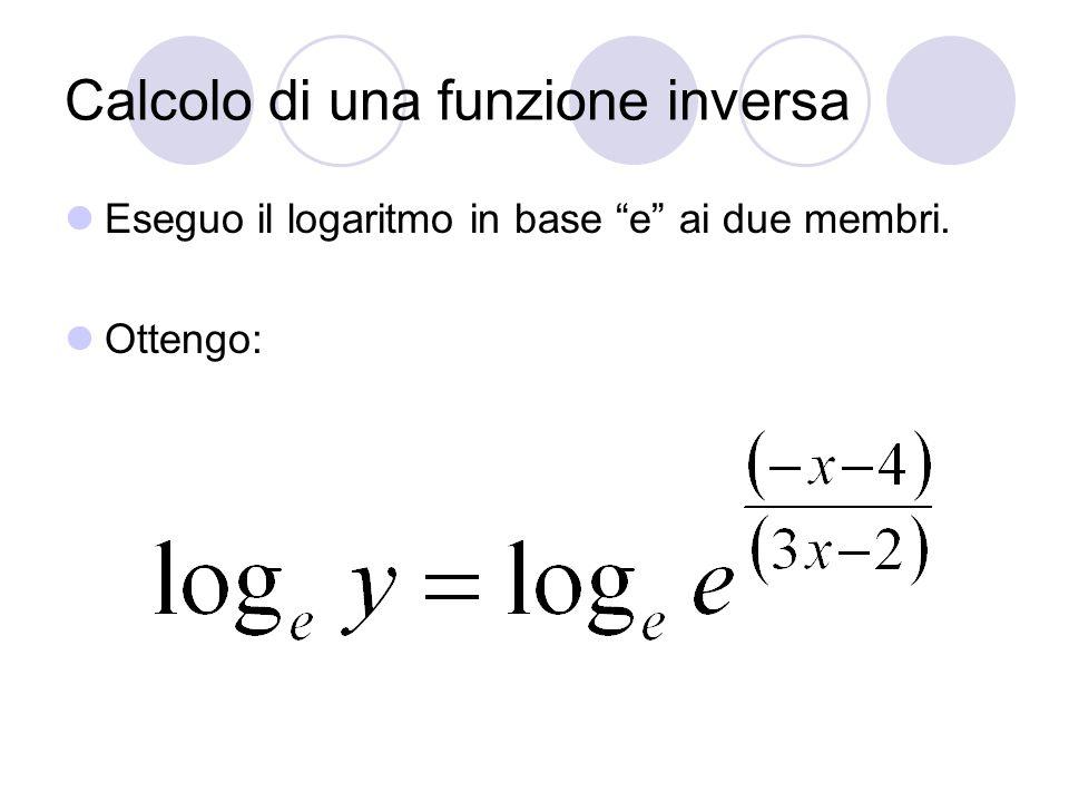 Calcolo di una funzione inversa Eseguo il logaritmo in base e ai due membri. Ottengo: