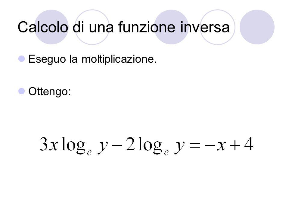 Calcolo di una funzione inversa Eseguo la moltiplicazione. Ottengo: