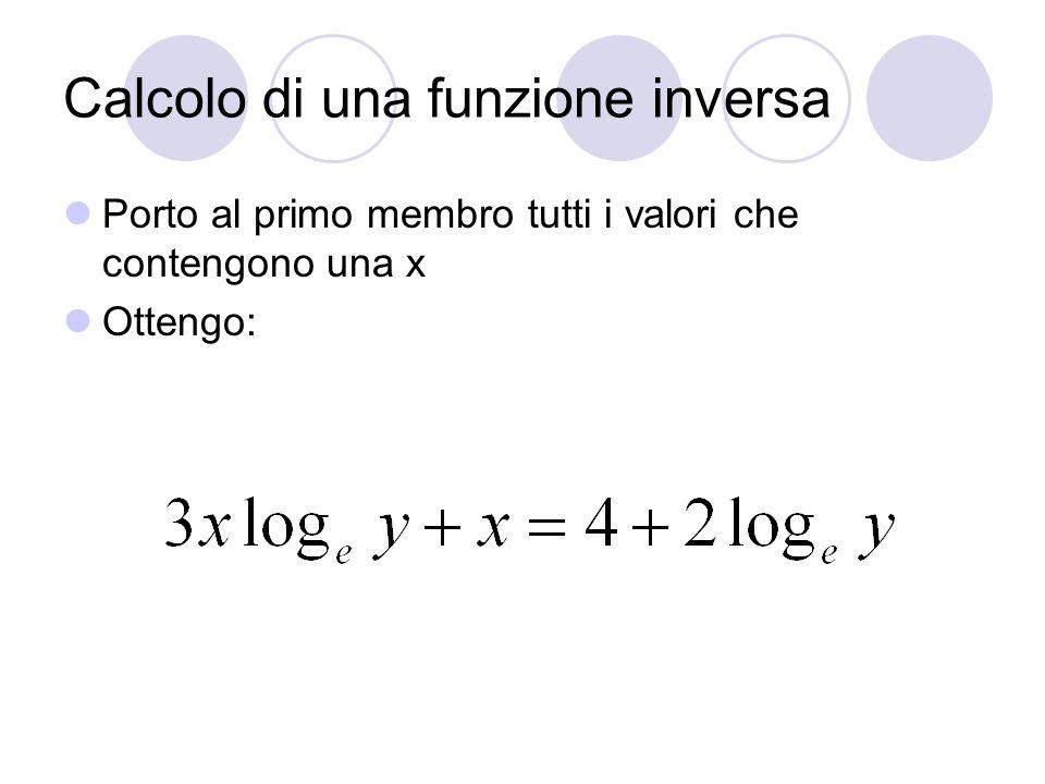 Calcolo di una funzione inversa Porto al primo membro tutti i valori che contengono una x Ottengo: