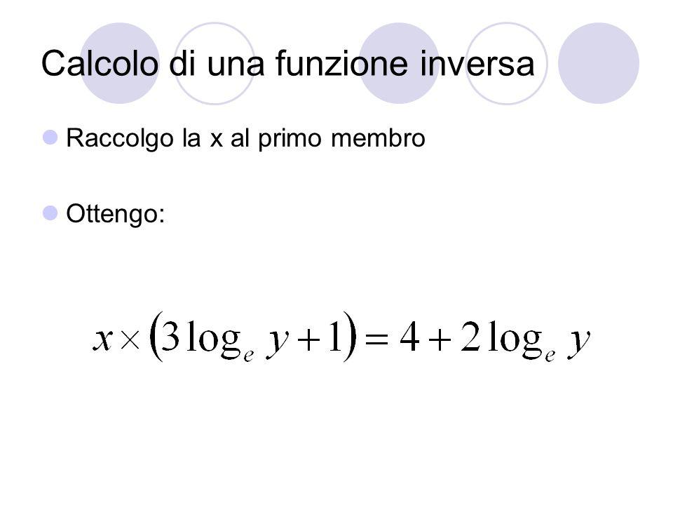 Calcolo di una funzione inversa Isolo la x al primo membro, per fare ciò divido tutti i due membri per (3log e y+1), ottengo:
