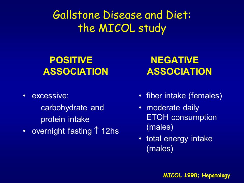 Gallstone Disease and Diet: the MICOL study POSITIVE ASSOCIATION excessive: carbohydrate and protein intake overnight fasting 12hs NEGATIVE ASSOCIATIO