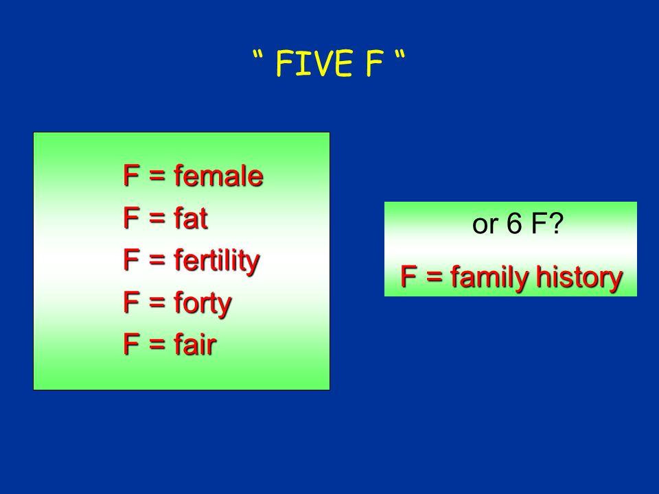 FIVE F F = female F = fat F = fertility F = forty F = fair or 6 F? F = family history