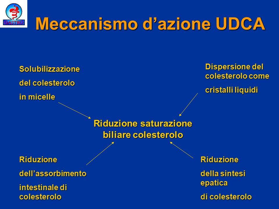 Meccanismo dazione UDCA Solubilizzazione del colesterolo in micelle Dispersione del colesterolo come cristalli liquidi Riduzionedellassorbimento intes