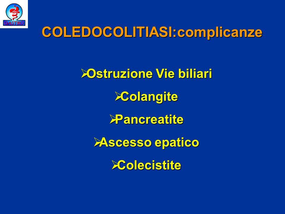 Ostruzione Vie biliari Ostruzione Vie biliari Colangite Colangite Pancreatite Pancreatite Ascesso epatico Ascesso epatico Colecistite Colecistite COLE