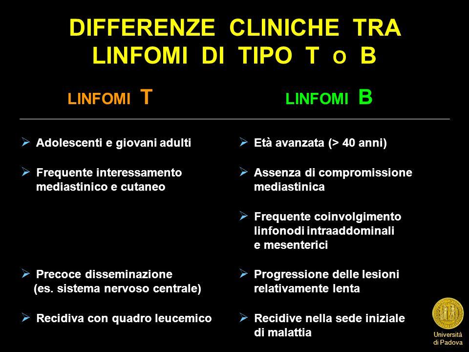 Università di Padova DIFFERENZE CLINICHE TRA LINFOMI DI TIPO T O B LINFOMI T LINFOMI B Adolescenti e giovani adulti Età avanzata (> 40 anni) Frequente