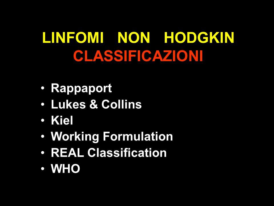 LINFOMI NON HODGKIN CLASSIFICAZIONI Rappaport Lukes & Collins Kiel Working Formulation REAL Classification WHO
