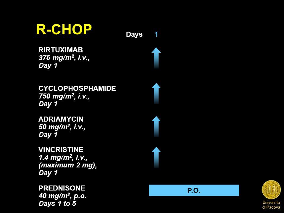 Università di Padova P.O. R-CHOP Days 1 RIRTUXIMAB 375 mg/m 2, i.v., Day 1 CYCLOPHOSPHAMIDE 750 mg/m 2, i.v., Day 1 ADRIAMYCIN 50 mg/m 2, i.v., Day 1