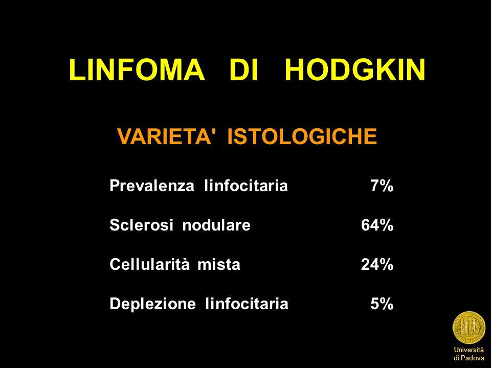Università di Padova LINFOMA DI HODGKIN VARIETA' ISTOLOGICHE Prevalenza linfocitaria 7% Sclerosi nodulare64% Cellularità mista24% Deplezione linfocita