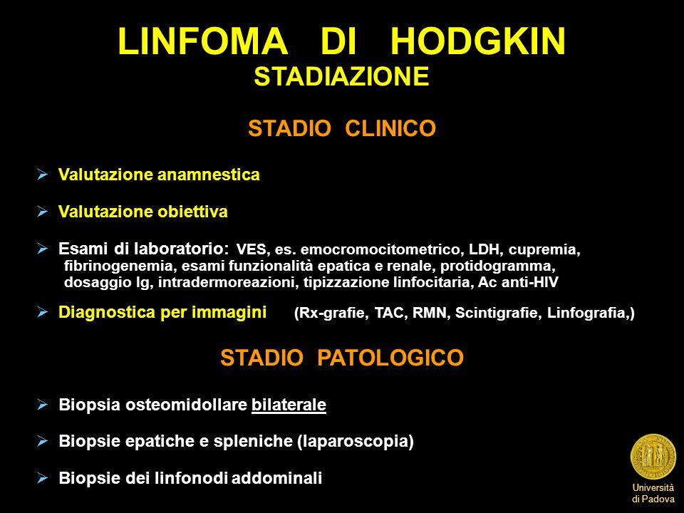 Università di Padova LINFOMA DI HODGKIN INDAGINI DI STADIAZIONE Rx-grafia del torace PET-TAC o TAC toracica e addominale Biopsia osteomidollare bilaterale Ecotomografia addominale Linfografia pedidia Laparoscopia (biopsie fegato e milza) Laparotomia con splenectomia e biopsie linfonodali multiple Risonanza magnetica nucleare Scansione con gallio (mediastino) e con tecnezio (scheletro) Endoscopie, Pielografia discendente
