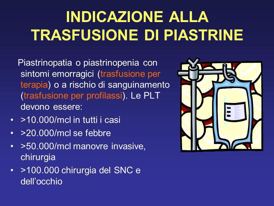 INDICAZIONE ALLA TRASFUSIONE DI PIASTRINE Piastrinopatia o piastrinopenia con sintomi emorragici (trasfusione per terapia) o a rischio di sanguinament