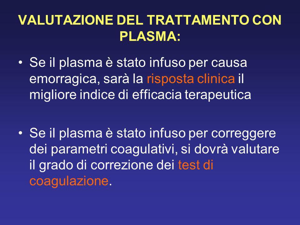 VALUTAZIONE DEL TRATTAMENTO CON PLASMA: Se il plasma è stato infuso per causa emorragica, sarà la risposta clinica il migliore indice di efficacia ter