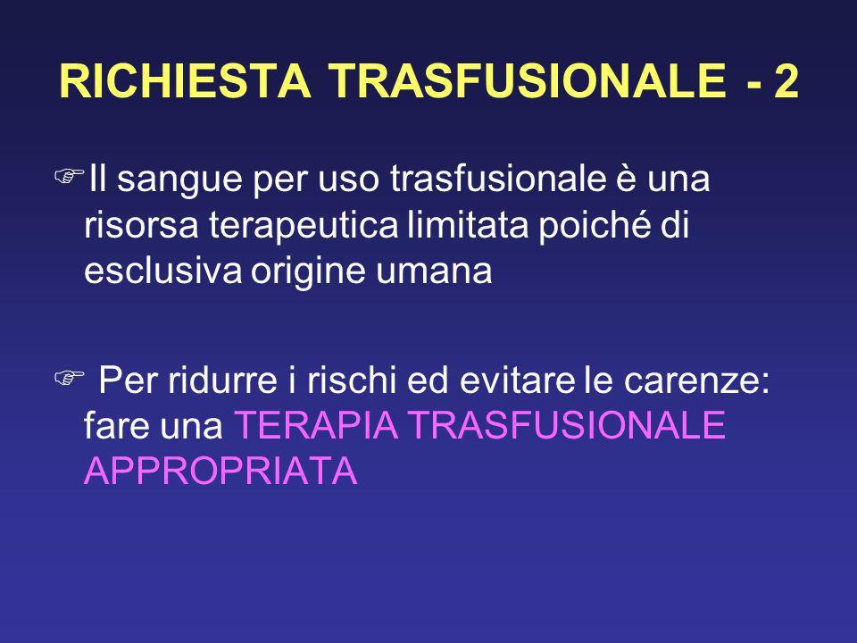 RICHIESTA TRASFUSIONALE - 2 Il sangue per uso trasfusionale è una risorsa terapeutica limitata poiché di esclusiva origine umana Per ridurre i rischi