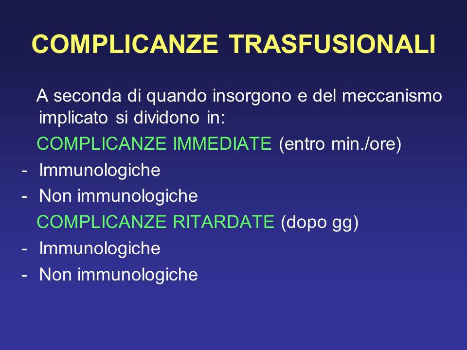 COMPLICANZE TRASFUSIONALI A seconda di quando insorgono e del meccanismo implicato si dividono in: COMPLICANZE IMMEDIATE (entro min./ore) -Immunologic