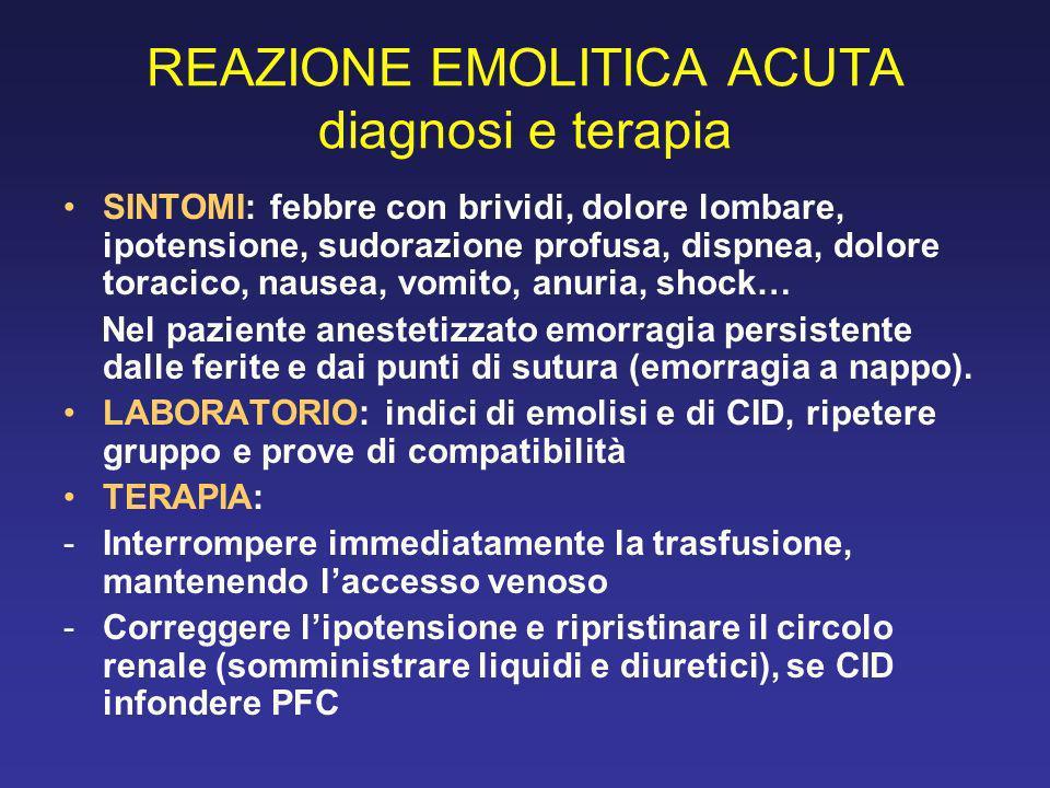 REAZIONE EMOLITICA ACUTA diagnosi e terapia SINTOMI: febbre con brividi, dolore lombare, ipotensione, sudorazione profusa, dispnea, dolore toracico, n