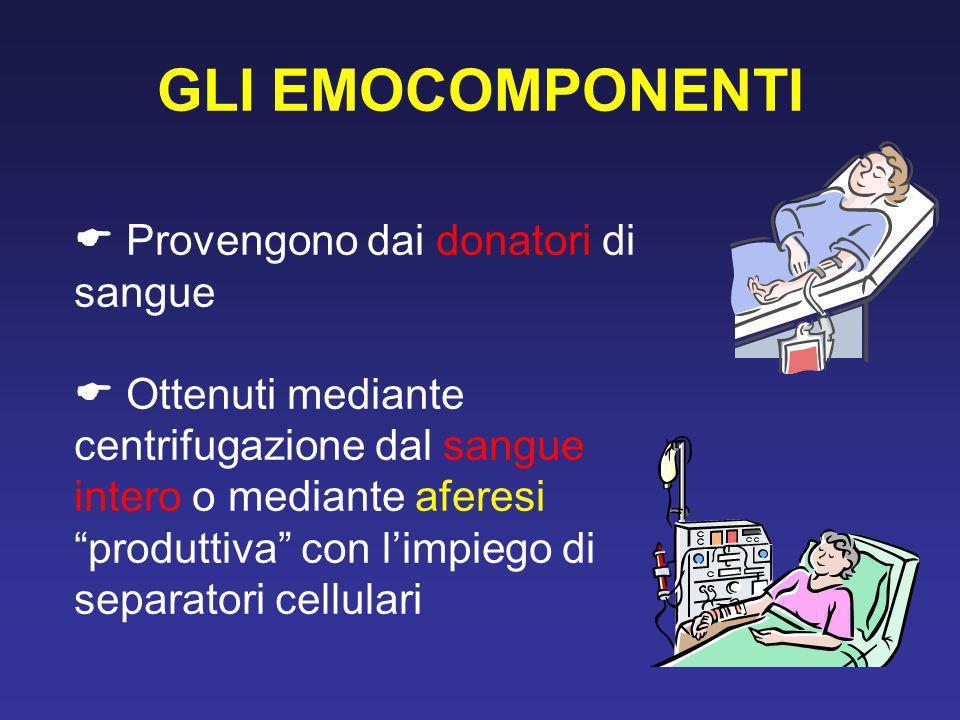 GLI EMOCOMPONENTI Provengono dai donatori di sangue Ottenuti mediante centrifugazione dal sangue intero o mediante aferesi produttiva con limpiego di