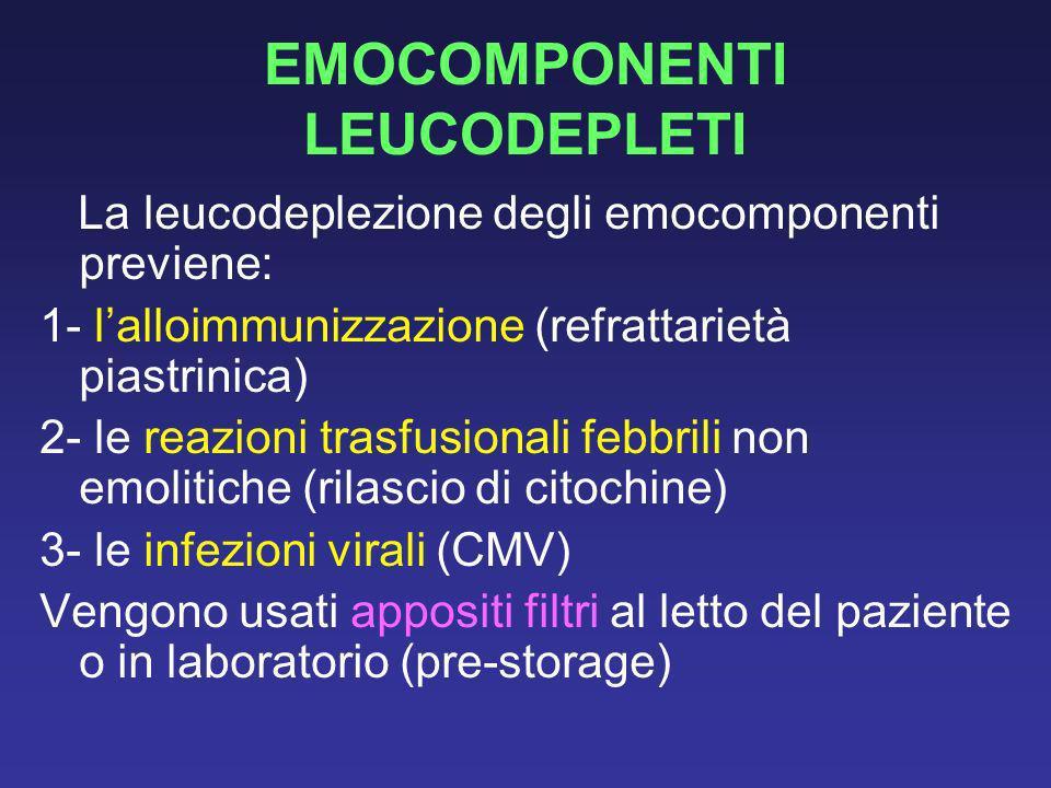 EMOCOMPONENTI LEUCODEPLETI La leucodeplezione degli emocomponenti previene: 1- lalloimmunizzazione (refrattarietà piastrinica) 2- le reazioni trasfusi