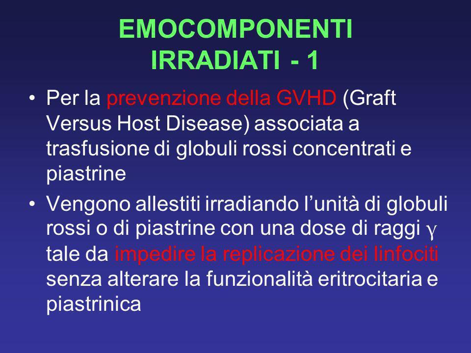 EMOCOMPONENTI IRRADIATI - 1 Per la prevenzione della GVHD (Graft Versus Host Disease) associata a trasfusione di globuli rossi concentrati e piastrine