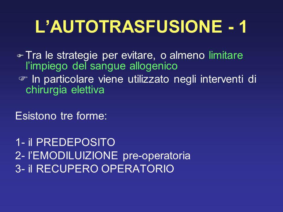 LAUTOTRASFUSIONE - 1 Tra le strategie per evitare, o almeno limitare limpiego del sangue allogenico In particolare viene utilizzato negli interventi d