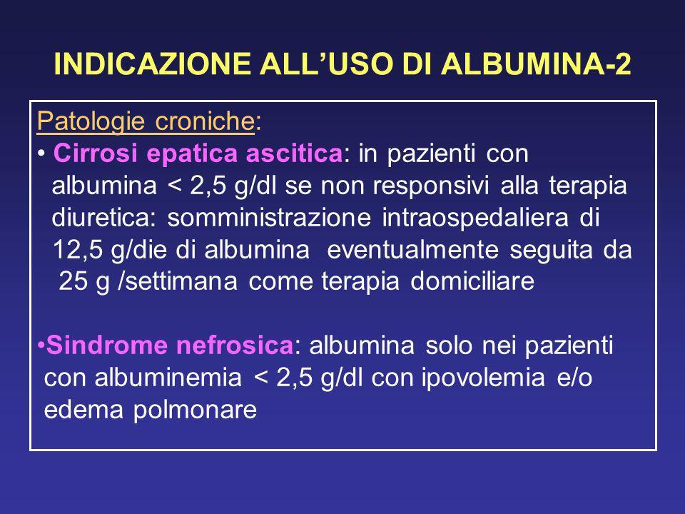 INDICAZIONE ALLUSO DI ALBUMINA-2 Patologie croniche: Cirrosi epatica ascitica: in pazienti con albumina < 2,5 g/dl se non responsivi alla terapia diur
