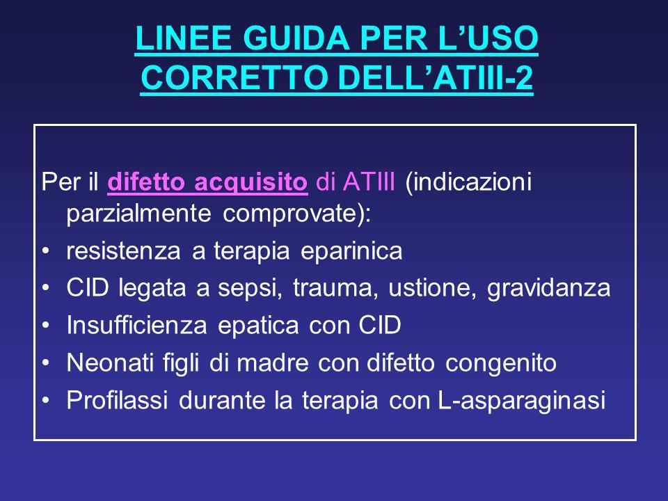 LINEE GUIDA PER LUSO CORRETTO DELLATIII-2 Per il difetto acquisito di ATIII (indicazioni parzialmente comprovate): resistenza a terapia eparinica CID