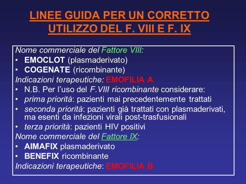 LINEE GUIDA PER UN CORRETTO UTILIZZO DEL F. VIII E F. IX Nome commerciale del Fattore VIII: EMOCLOT (plasmaderivato) COGENATE (ricombinante) Indicazio