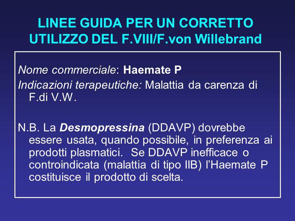LINEE GUIDA PER UN CORRETTO UTILIZZO DEL F.VIII/F.von Willebrand Nome commerciale: Haemate P Indicazioni terapeutiche: Malattia da carenza di F.di V.W