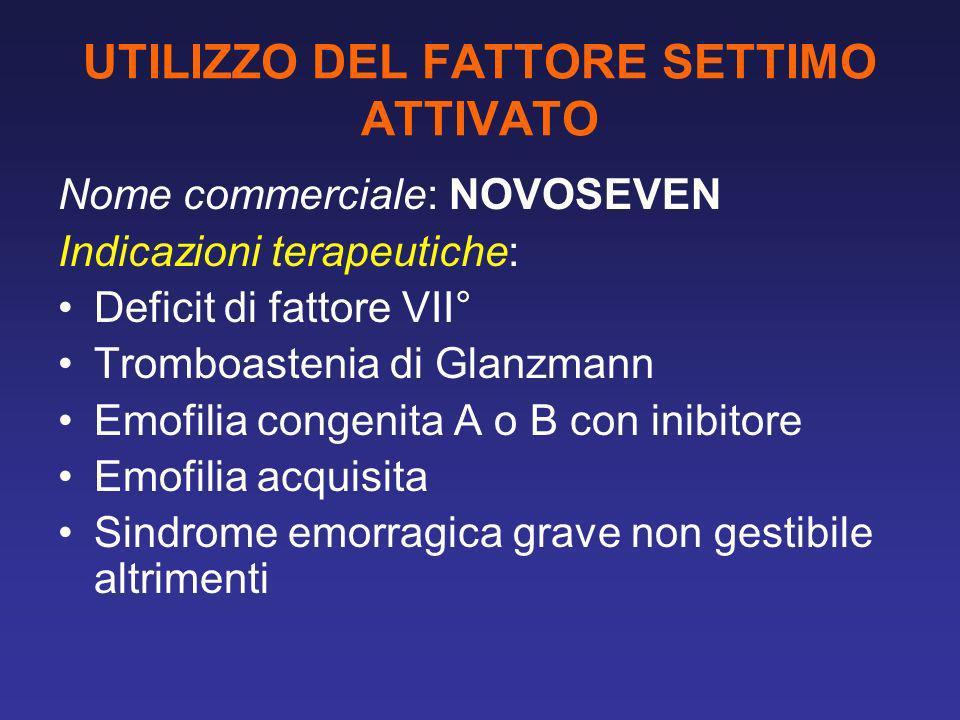 UTILIZZO DEL FATTORE SETTIMO ATTIVATO Nome commerciale: NOVOSEVEN Indicazioni terapeutiche: Deficit di fattore VII° Tromboastenia di Glanzmann Emofili