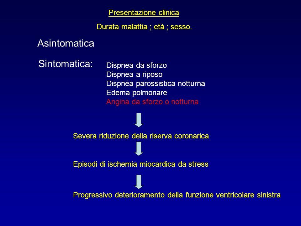 Presentazione clinica Durata malattia ; età ; sesso. Asintomatica Sintomatica: Dispnea da sforzo Dispnea a riposo Dispnea parossistica notturna Edema