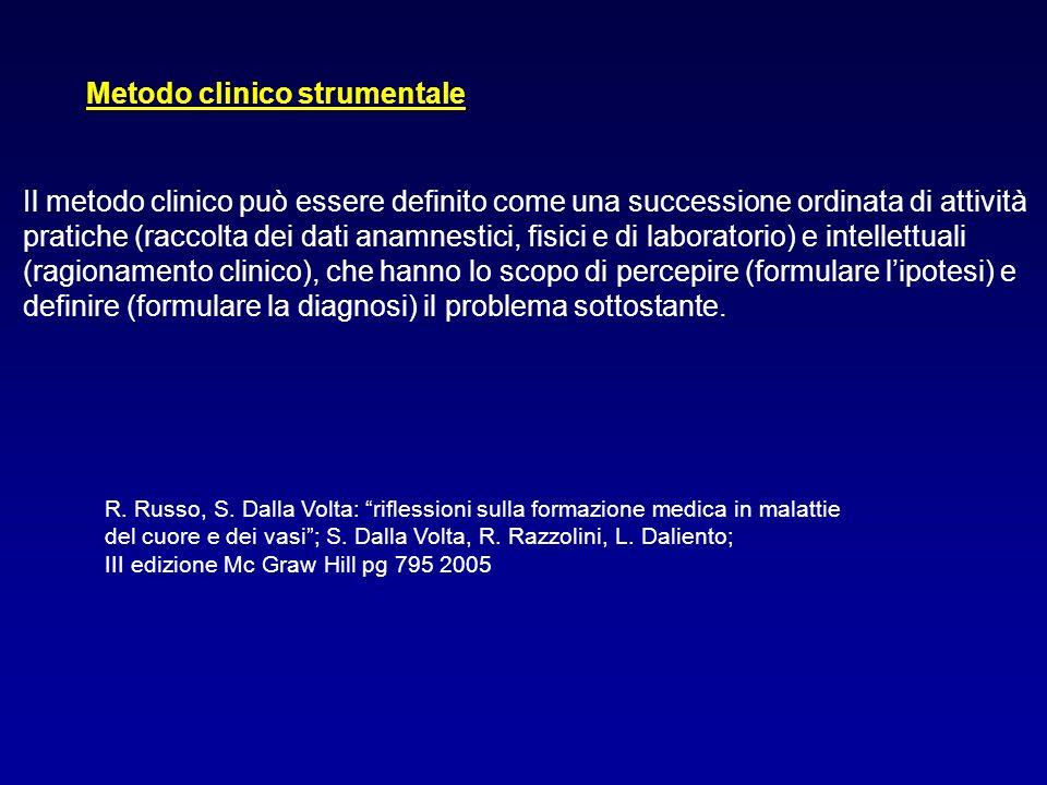 Metodo clinico strumentale Il metodo clinico può essere definito come una successione ordinata di attività pratiche (raccolta dei dati anamnestici, fi