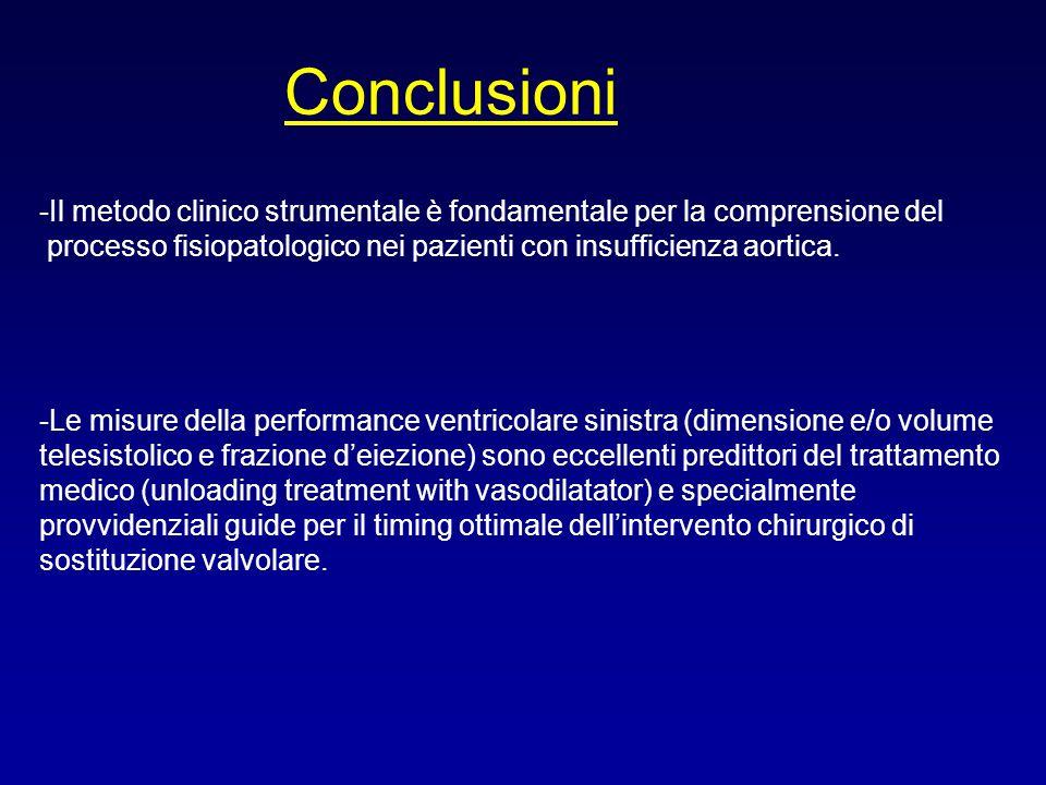Conclusioni -Il metodo clinico strumentale è fondamentale per la comprensione del processo fisiopatologico nei pazienti con insufficienza aortica. -Le