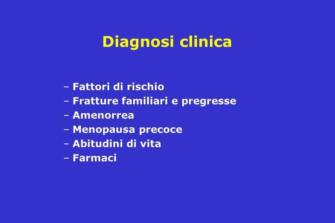 Diagnosi clinica –Fattori di rischio –Fratture familiari e pregresse –Amenorrea –Menopausa precoce –Abitudini di vita –Farmaci