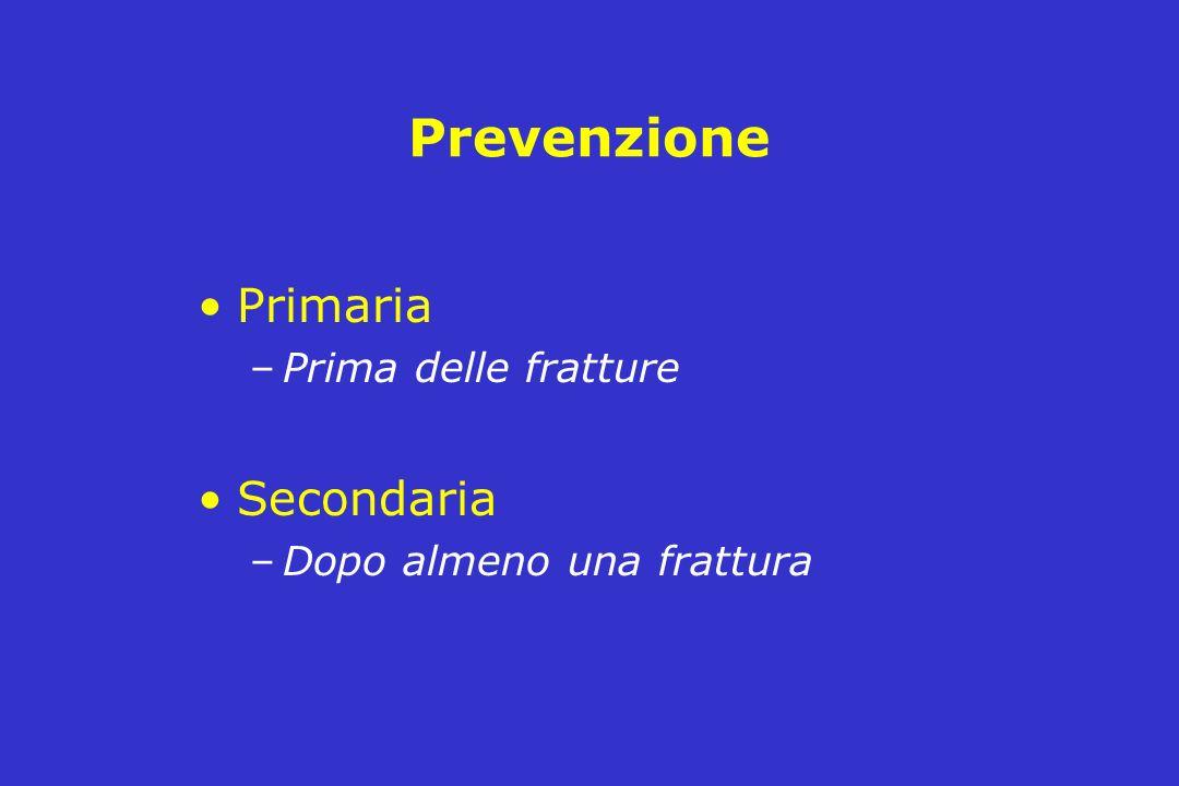 Prevenzione Primaria –Prima delle fratture Secondaria –Dopo almeno una frattura
