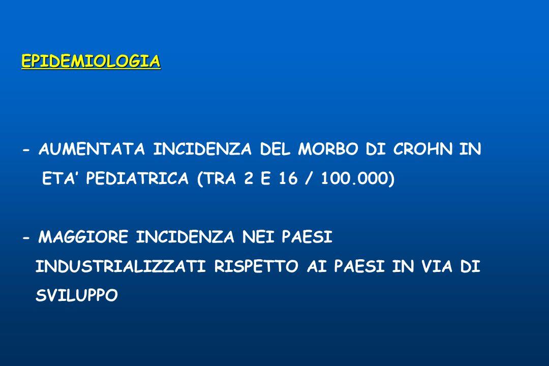 EPIDEMIOLOGIA - AUMENTATA INCIDENZA DEL MORBO DI CROHN IN ETA PEDIATRICA (TRA 2 E 16 / 100.000) - MAGGIORE INCIDENZA NEI PAESI INDUSTRIALIZZATI RISPETTO AI PAESI IN VIA DI SVILUPPO