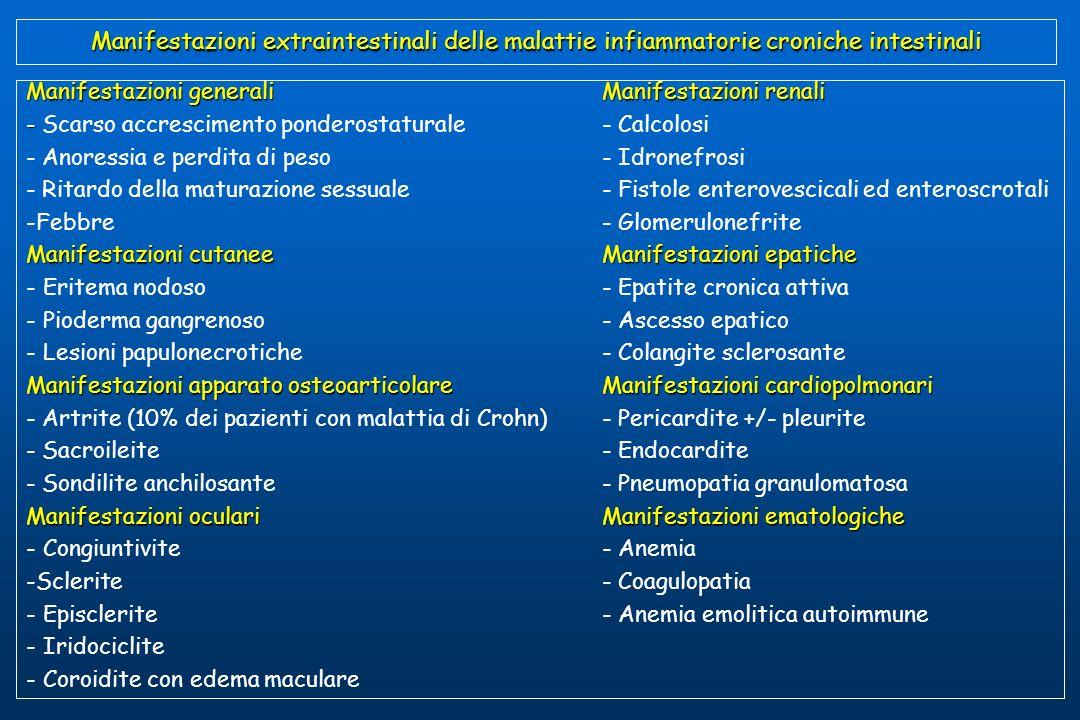 Manifestazioni extraintestinali delle malattie infiammatorie croniche intestinali Manifestazioni generaliManifestazioni renali - - Scarso accrescimento ponderostaturale- Calcolosi - Anoressia e perdita di peso- Idronefrosi - Ritardo della maturazione sessuale- Fistole enterovescicali ed enteroscrotali -Febbre- Glomerulonefrite Manifestazioni cutanee Manifestazioni epatiche - Eritema nodoso- Epatite cronica attiva - Pioderma gangrenoso- Ascesso epatico - Lesioni papulonecrotiche- Colangite sclerosante Manifestazioni apparato osteoarticolare Manifestazioni cardiopolmonari - Artrite (10% dei pazienti con malattia di Crohn)- Pericardite +/- pleurite - Sacroileite- Endocardite - Sondilite anchilosante- Pneumopatia granulomatosa Manifestazioni oculariManifestazioni ematologiche Manifestazioni oculari Manifestazioni ematologiche - Congiuntivite- Anemia -Sclerite- Coagulopatia - Episclerite- Anemia emolitica autoimmune - Iridociclite - Coroidite con edema maculare
