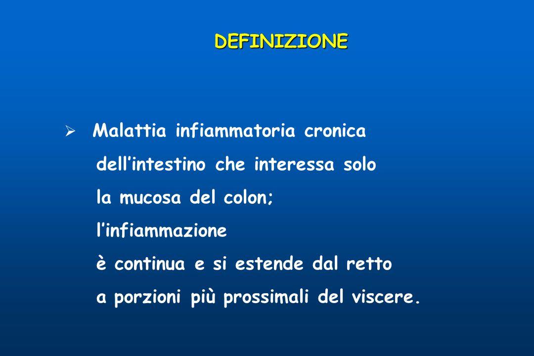 Malattia infiammatoria cronica dellintestino che interessa solo la mucosa del colon; linfiammazione è continua e si estende dal retto a porzioni più prossimali del viscere.