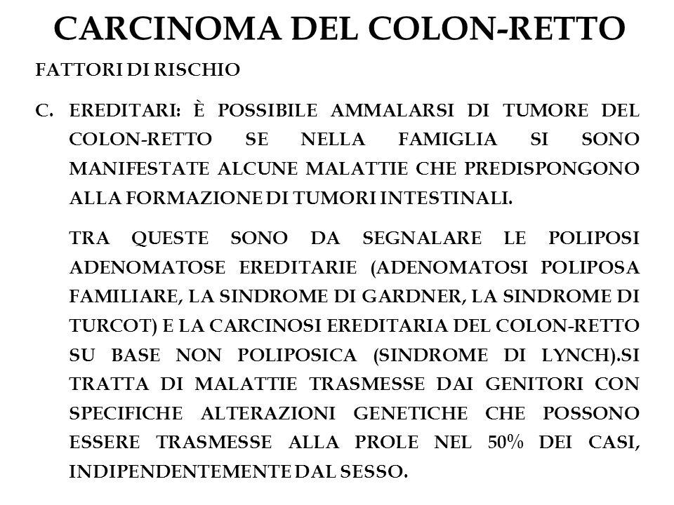 CARCINOMA DEL COLON-RETTO FATTORI DI RISCHIO C.EREDITARI: È POSSIBILE AMMALARSI DI TUMORE DEL COLON-RETTO SE NELLA FAMIGLIA SI SONO MANIFESTATE ALCUNE