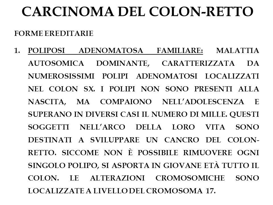CARCINOMA DEL COLON-RETTO FORME EREDITARIE 1.POLIPOSI ADENOMATOSA FAMILIARE: MALATTIA AUTOSOMICA DOMINANTE, CARATTERIZZATA DA NUMEROSISSIMI POLIPI ADE