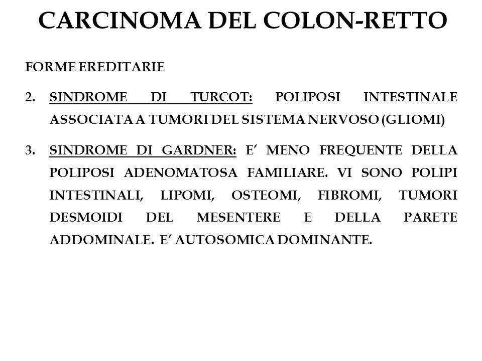 CARCINOMA DEL COLON-RETTO FORME EREDITARIE 2.SINDROME DI TURCOT: POLIPOSI INTESTINALE ASSOCIATA A TUMORI DEL SISTEMA NERVOSO (GLIOMI) 3.SINDROME DI GA