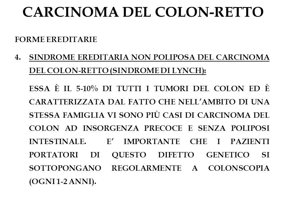 CARCINOMA DEL COLON-RETTO FORME EREDITARIE 4.SINDROME EREDITARIA NON POLIPOSA DEL CARCINOMA DEL COLON-RETTO (SINDROME DI LYNCH): ESSA È IL 5-10% DI TU