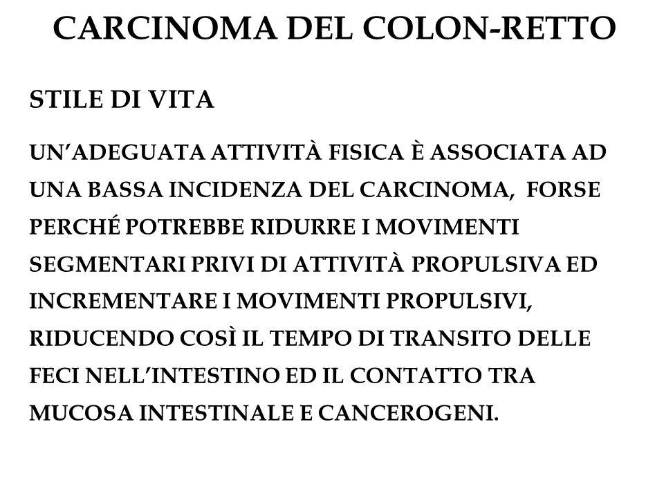 CARCINOMA DEL COLON-RETTO STILE DI VITA UNADEGUATA ATTIVITÀ FISICA È ASSOCIATA AD UNA BASSA INCIDENZA DEL CARCINOMA, FORSE PERCHÉ POTREBBE RIDURRE I M