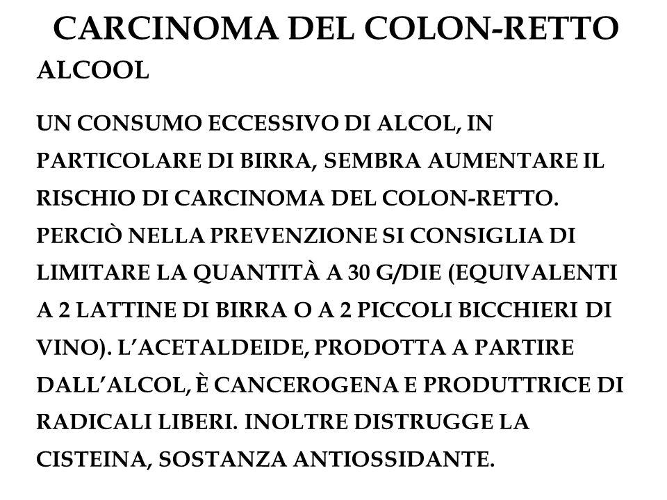 CARCINOMA DEL COLON-RETTO ALCOOL UN CONSUMO ECCESSIVO DI ALCOL, IN PARTICOLARE DI BIRRA, SEMBRA AUMENTARE IL RISCHIO DI CARCINOMA DEL COLON-RETTO. PER