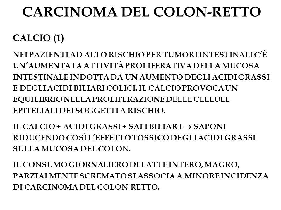 CARCINOMA DEL COLON-RETTO CALCIO (1) NEI PAZIENTI AD ALTO RISCHIO PER TUMORI INTESTINALI CÈ UNAUMENTATA ATTIVITÀ PROLIFERATIVA DELLA MUCOSA INTESTINAL