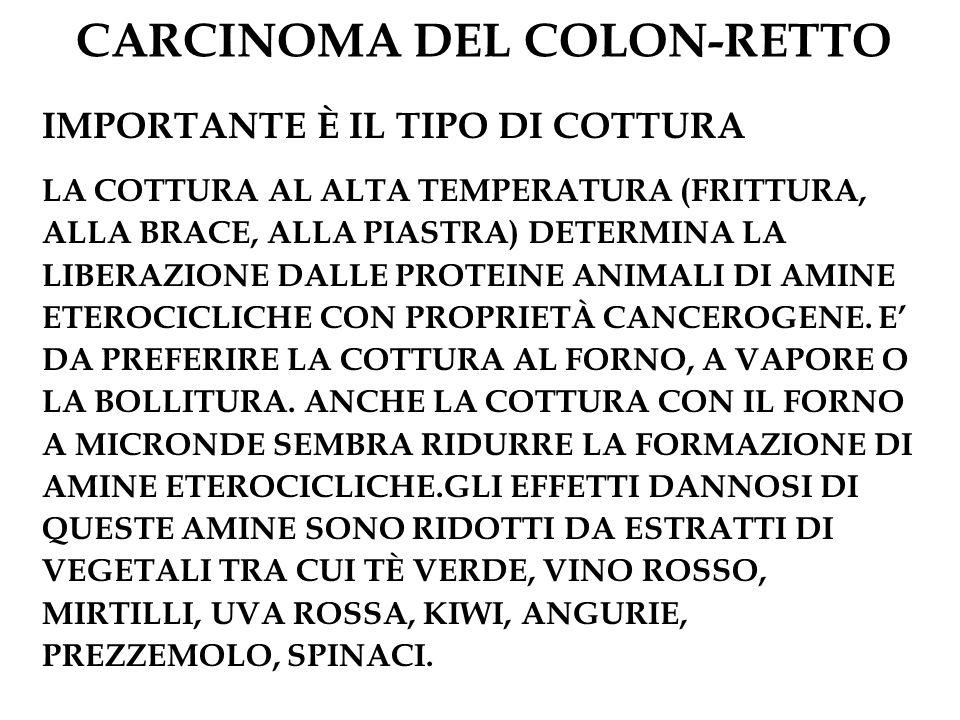 CARCINOMA DEL COLON-RETTO IMPORTANTE È IL TIPO DI COTTURA LA COTTURA AL ALTA TEMPERATURA (FRITTURA, ALLA BRACE, ALLA PIASTRA) DETERMINA LA LIBERAZIONE