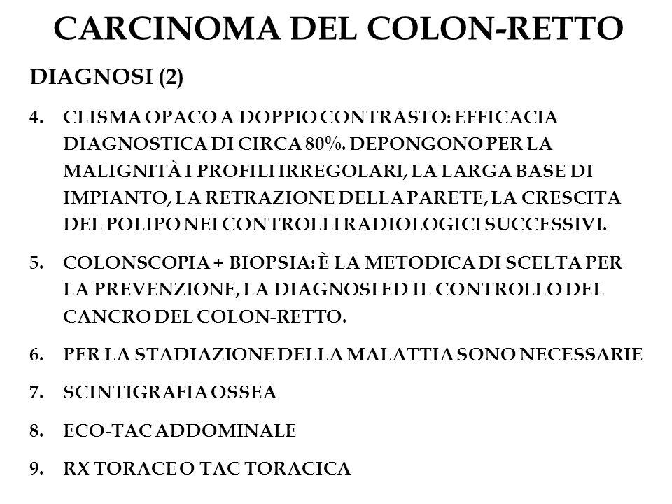 CARCINOMA DEL COLON-RETTO DIAGNOSI (2) 4.CLISMA OPACO A DOPPIO CONTRASTO: EFFICACIA DIAGNOSTICA DI CIRCA 80%. DEPONGONO PER LA MALIGNITÀ I PROFILI IRR