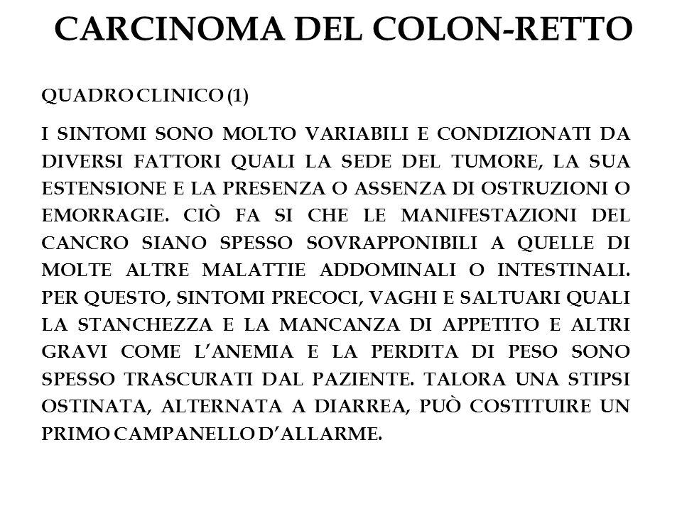 CARCINOMA DEL COLON-RETTO QUADRO CLINICO (1) I SINTOMI SONO MOLTO VARIABILI E CONDIZIONATI DA DIVERSI FATTORI QUALI LA SEDE DEL TUMORE, LA SUA ESTENSI