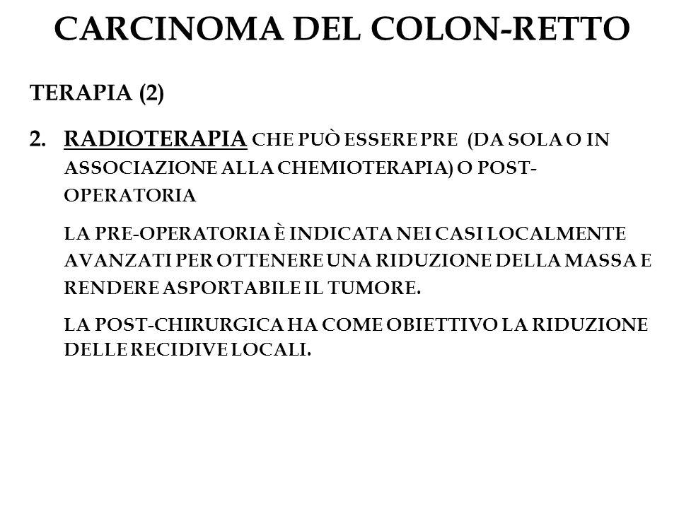 CARCINOMA DEL COLON-RETTO TERAPIA (2) 2.RADIOTERAPIA CHE PUÒ ESSERE PRE (DA SOLA O IN ASSOCIAZIONE ALLA CHEMIOTERAPIA) O POST- OPERATORIA LA PRE-OPERA