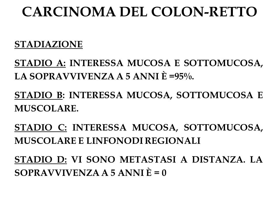 CAUSE DI EMORRAGIA INTESTINALE INFERIORE Età < 60 anni Polipi del colon Malattie infiammatorie intestinali Coliti infettive Età > 60 anni Carcinoma del colon Diverticolosi Ischemia intestinale