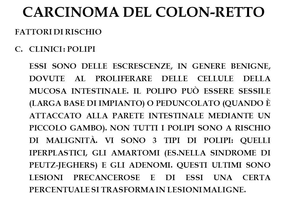 CARCINOMA DEL COLON-RETTO FATTORI DI RISCHIO C.CLINICI : POLIPI ESSI SONO DELLE ESCRESCENZE, IN GENERE BENIGNE, DOVUTE AL PROLIFERARE DELLE CELLULE DE