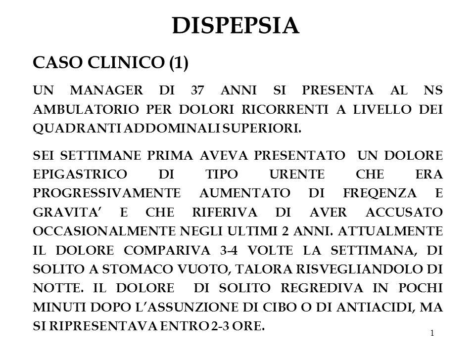 1 DISPEPSIA CASO CLINICO (1) UN MANAGER DI 37 ANNI SI PRESENTA AL NS AMBULATORIO PER DOLORI RICORRENTI A LIVELLO DEI QUADRANTI ADDOMINALI SUPERIORI. S