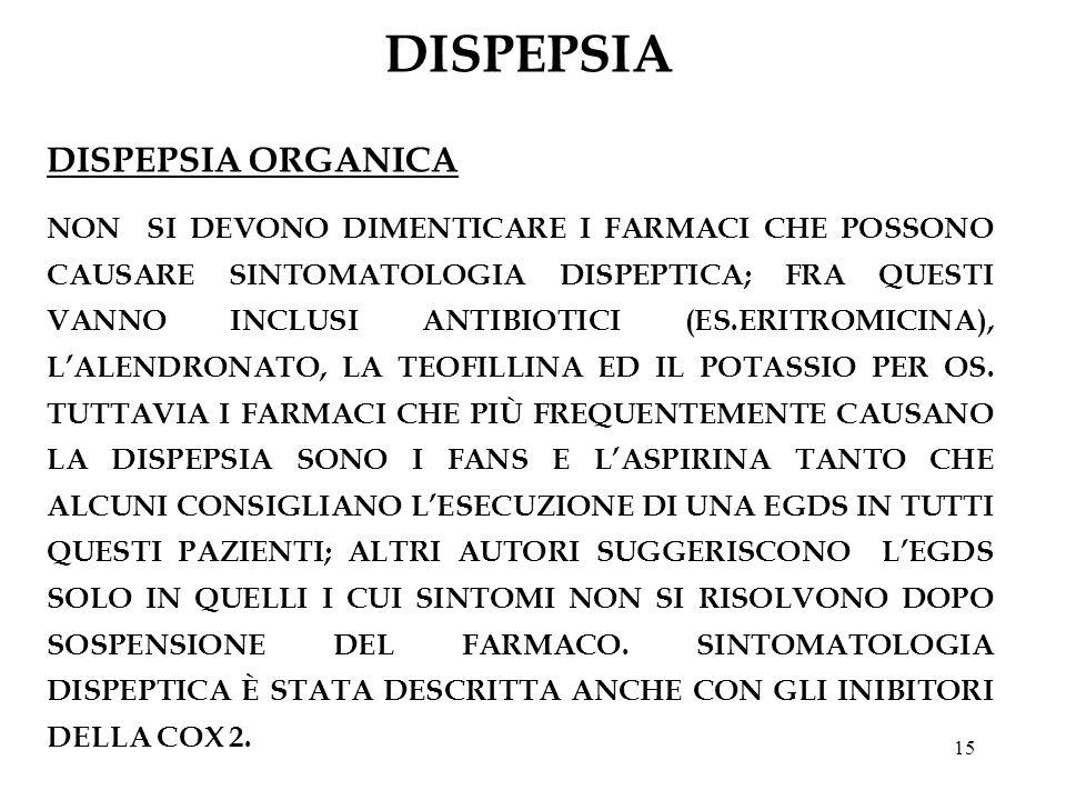 15 DISPEPSIA DISPEPSIA ORGANICA NON SI DEVONO DIMENTICARE I FARMACI CHE POSSONO CAUSARE SINTOMATOLOGIA DISPEPTICA; FRA QUESTI VANNO INCLUSI ANTIBIOTIC